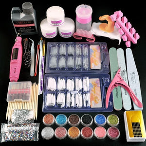 Full Nail Manicure Set Pro Acrylic Kit With Drill Machine Acrylic Liquid Nail Glue Glitter Powder Nail Tips Nail Art Tool Kit