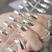 Load image into Gallery viewer, STILETTO Mirror Silver  Metallic Acrylic Nail Tips