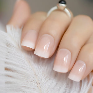 Beige Gradient French Manicure Tips