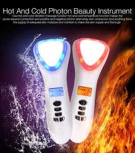 Ultrasonic Cryotherapy LED Hot Cold Hammer Facial Vibrate Massager