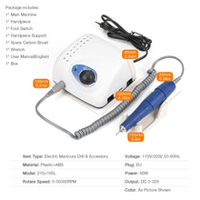 Load image into Gallery viewer, Strong 210 105L 65W 35000RPM Electric Nail Drill Machine