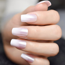 Load image into Gallery viewer, Glossy Shimmer White Square Ombre French Nail