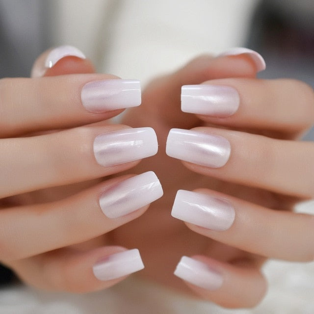 Glossy Shimmer White Square Ombre French Nail