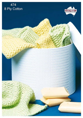 Crochet Wash Cloths Cotton 8ply
