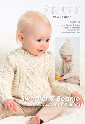 Sweater and Beanie Classic Aran Knitting Pattern