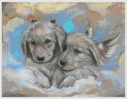Angel & Imp Golden Retrievers Cross Stitch Pattern