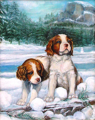 Brittany Pups Cross Stitch Pattern