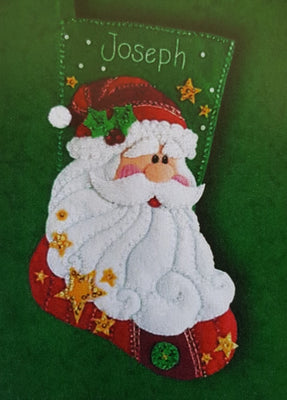 Sequined Santa Christmas Felt Stocking