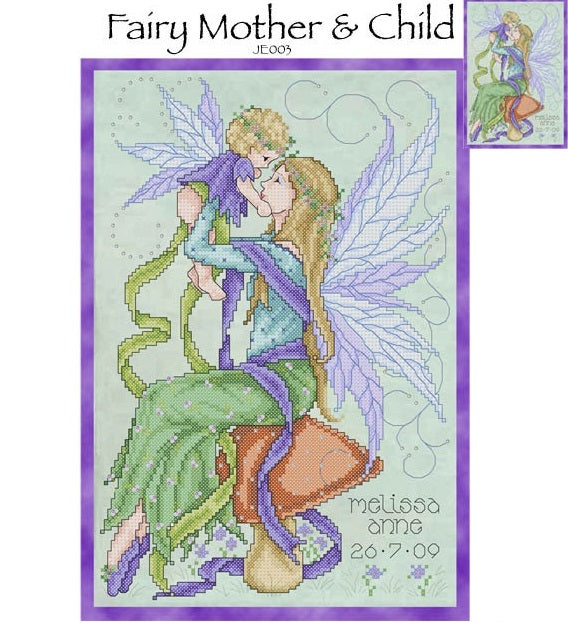 Fairy Mother and Child Cross Stitch Pattern