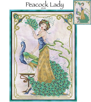 Peacock Lady Cross Stitch Pattern