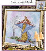 Unicorn and Maiden Cross Stitch Pattern