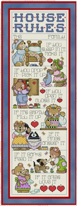 Teddy House Rules Cross Stitch Pattern