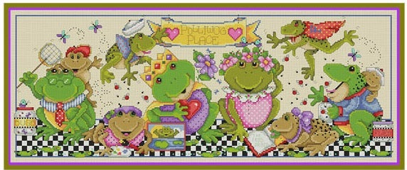 Polliwog Place Cross Stitch Pattern