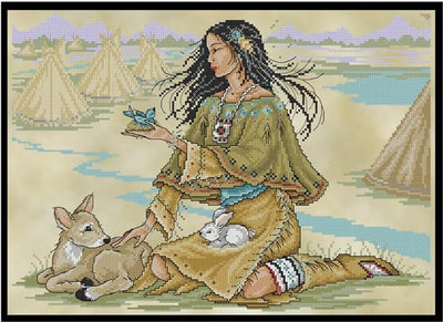 Native American Maiden Cross Stitch Pattern