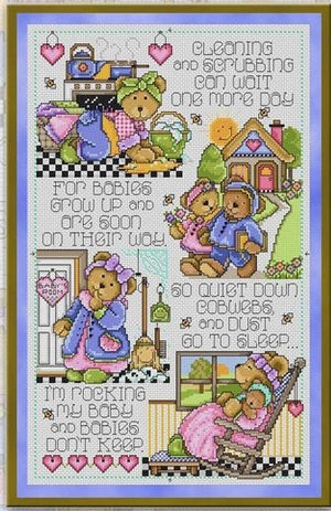 Babies Don't Sleep Cross Stitch Pattern