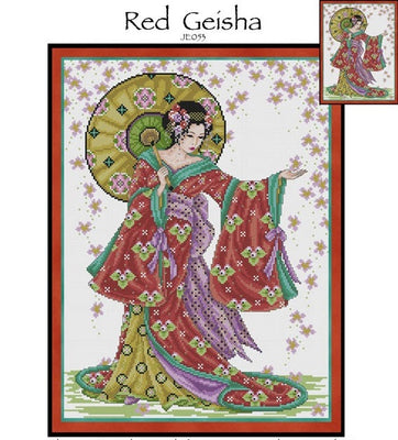 Red Geisha Cross Stitch Pattern
