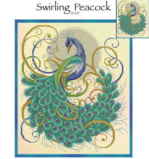 Swirling Peacock Cross Stitch Pattern