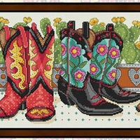 Cowboy Boots Cross Stitch Pattern