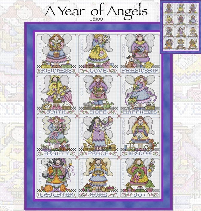 A Year of Angels Cross Stitch Pattern
