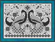 Blackwork Peacocks Cross Stitch Pattern