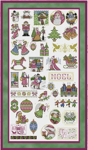 Victorian Christmas Library Cross Stitch Pattern