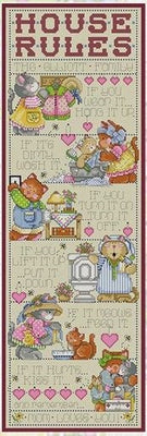 Kitten House Rules Cross Stitch Pattern