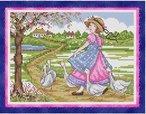 Girl with Geese Cross Stitch Pattern