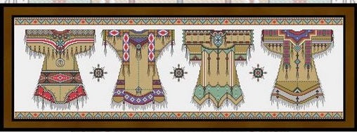 Native American Fashion Cross Stitch Pattern