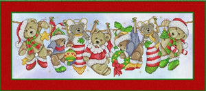 Christmas Teddies on the Line Cross Stitch Pattern