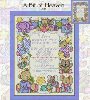 A Bit of Heaven Baby Sampler Cross Stitch Pattern