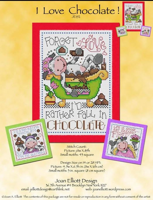 I Love Chocolate Cross Stitch Pattern