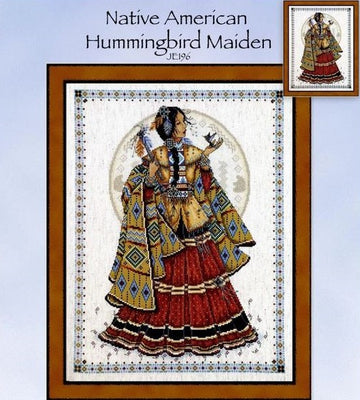 Native American Hummingbird Maiden Cross Stitch Pattern