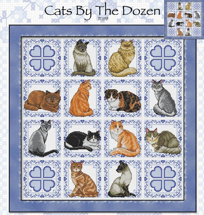 Cats by the Dozen Cross Stitch Pattern