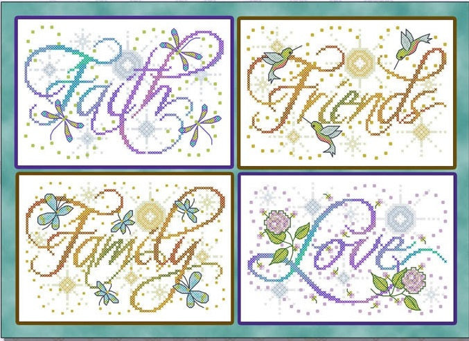 Faith, Family, Friends, Love Cross Stitch Pattern