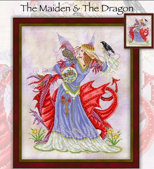The Maiden and The Dragon Cross Stitch Pattern