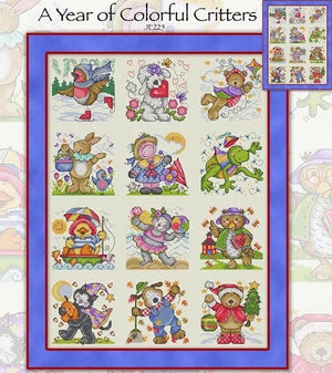 A Year of Colourful Critters Cross Stitch Pattern
