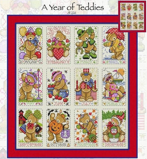 A Year of Teddies Cross Stitch Pattern