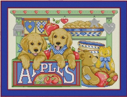 Puppies and Apples Cross Stitch Pattern
