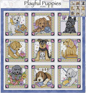 Nine Playful Puppies Cross Stitch Pattern