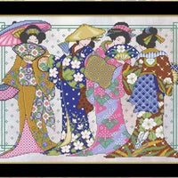 Four Geisha Cross Stitch Pattern