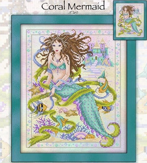 Coral Mermaid Cross Stitch Pattern