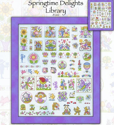 Springtime Delight Library Cross Stitch Pattern