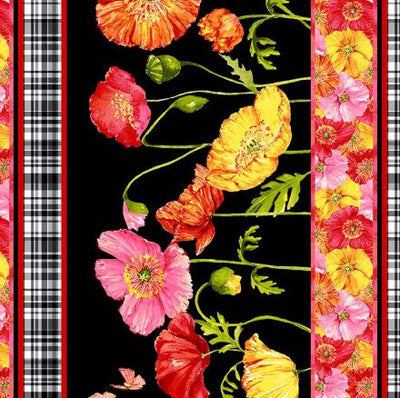 Poppies Border - Black, Fabric