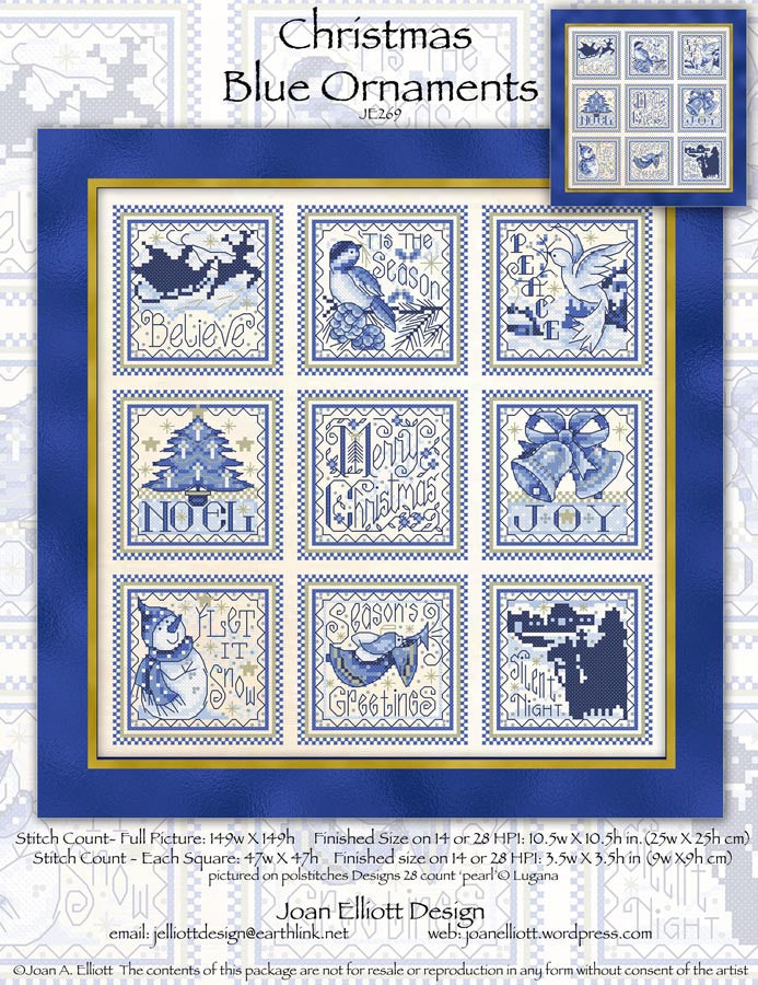 Christmas Blue Ornaments Cross Stitch Pattern