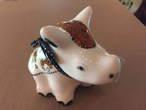 "Small Ceramic Rhino - ""Blessed in Brown"""