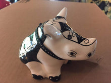 "Load image into Gallery viewer, Small Ceramic Rhino - ""Black & White"""