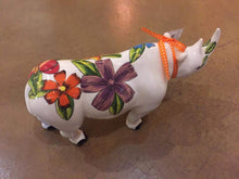 "Load image into Gallery viewer, Large Ceramic Rhino - ""Flower Power"""