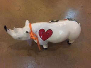 "Large Ceramic Rhino - ""Love"""