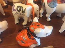 "Load image into Gallery viewer, Small Ceramic Rhino - ""Dressed in Orange"""