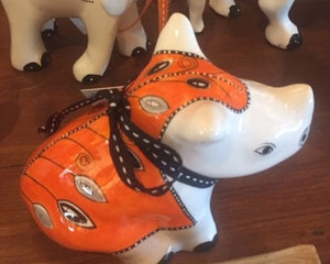 "Small Ceramic Rhino - ""Dressed in Orange"""